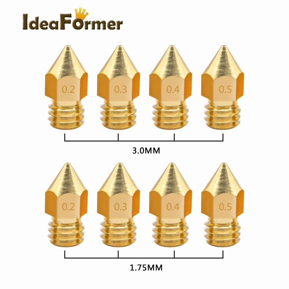 5pcs Makerbot MK8 Nozzle 1.75mm 3.0mm Nozzle Mixed Sizes 0.5mm 0.4mm 0.3mm 0.2mm  For Makerbot MK8 Extruder Prusa I3