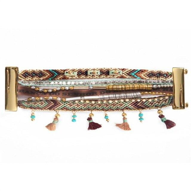 Main Multicolore D'été Fermoir Plage Gland Bracelets Magnétique Beaux Bijoux Brésiliens Bohême mode de Vie Bracelet HP095