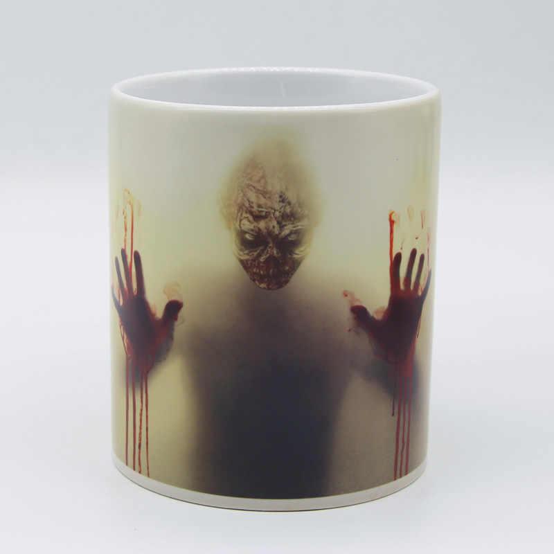 Darmowa wysyłka The walking dead zombie head kubki ciepła zmiana koloru kubek do herbaty magiczny kubek kawy wydrukuj swoje imię na kubku