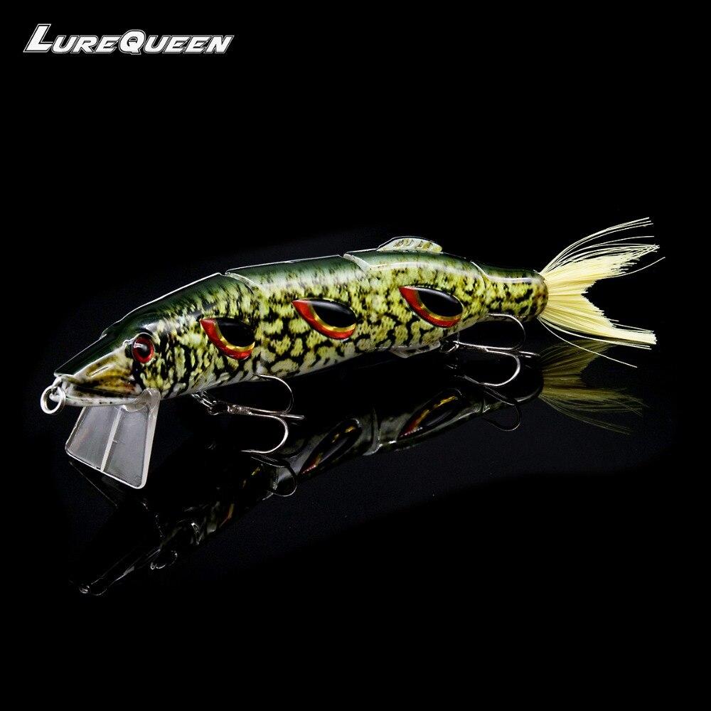 Lurequeen Large Big 19cm/50g 4-Segments Fishing Lures Minnow Crankbait 3D Eyes Life-like Tail Swimbait Jointed Hard Bait Wobbler