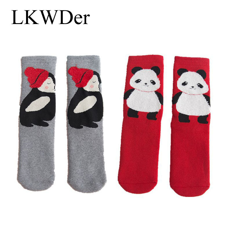 LKWDer 5 Pairs New Autumn Wnter Cotton Women's Socks Female Cartoon Qnimal Terry Socks Thicken Warm Tube sock Hosiery Calcetines