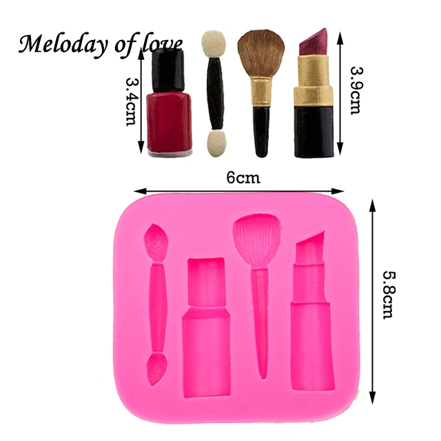 Makeup tools lipstick nail polish chocolate Party DIY fondant cake decorating tools silicone mold dessert moulds T0075 5