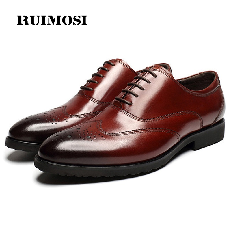 RUIMOSI Round Toe Man Wing Tip Brogue Shoes Genuine Leather Formal Dress Oxfords British Style Wedding Bridal Men's Flats GD88