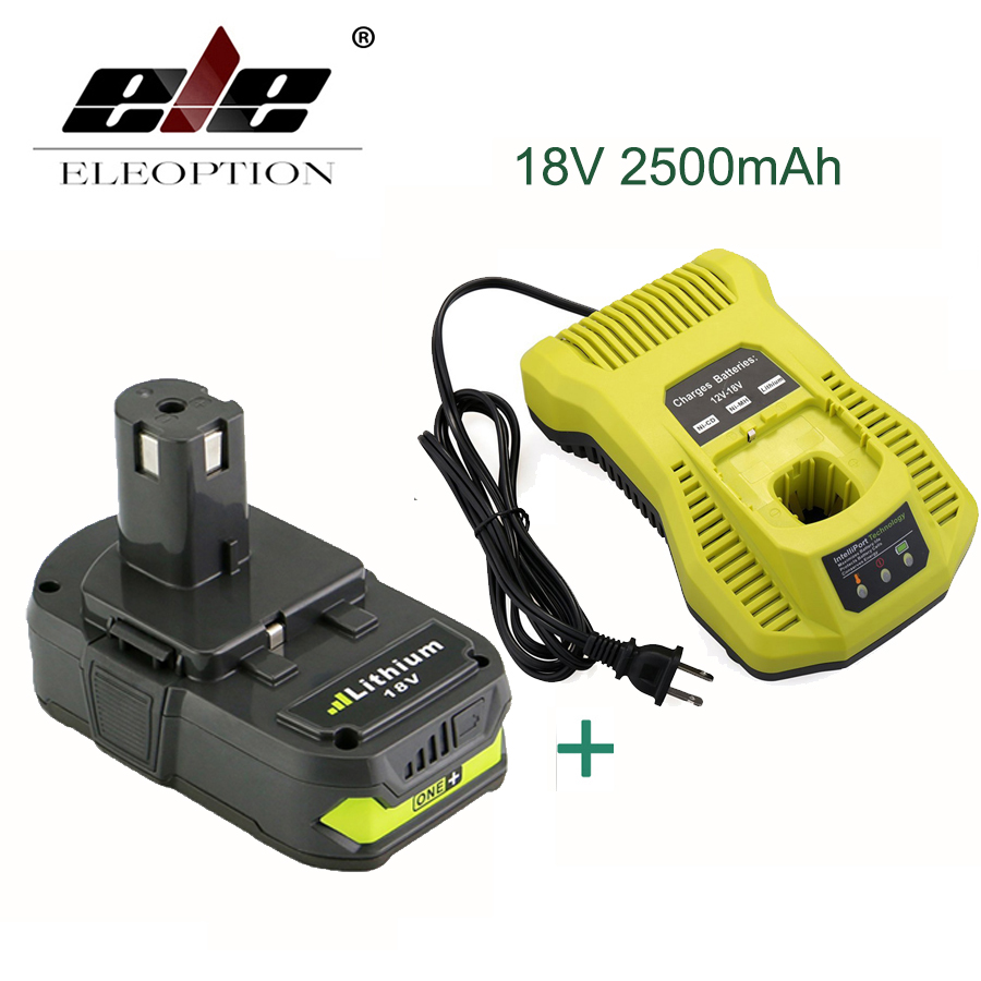ELEOPTION Rechargeable Battery For Ryobi RB18L25 18V 2500mAh Li-Ion P103 P104 P105 P108 + Charger laptop battery for asus x552 x552cl x552e x552ea x552ep x552l x552ld x552vl x552la 15v 2950mah 44wh li ion oem