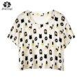 2017 Verão Unhas Kawaii Batom Impresso Tops de Culturas Branco T-shirt de Manga Curta T camisas Das Mulheres De Fitness Moda Kawaii