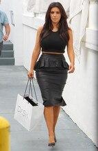 Faux Leather Skirt Peplum Plus Size 8xl  Office Causal Pencil Midi Skirt