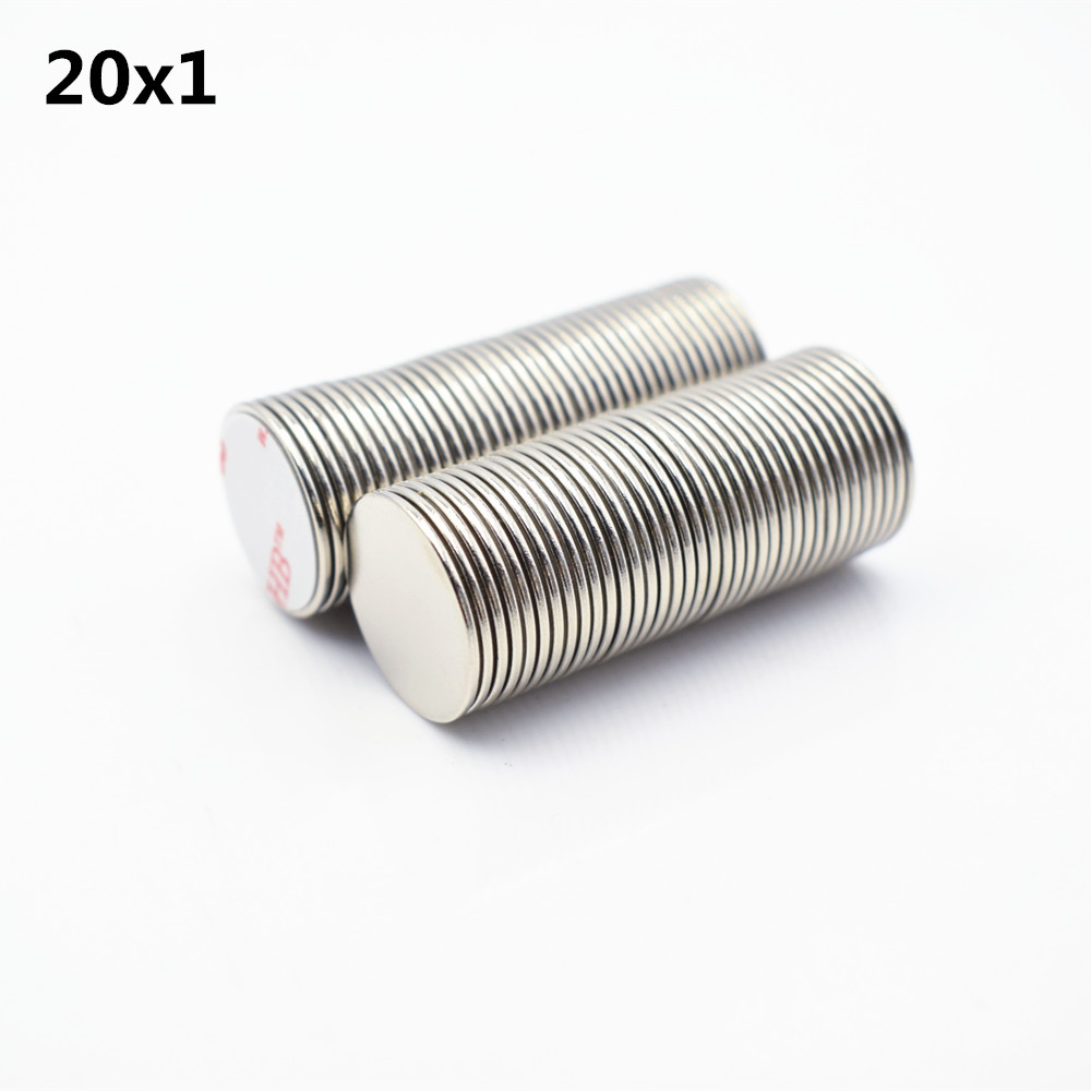 10pcs 20x1mm N52 neodymium magnet with 3M glue Double sided adhesive tape Bar Cuboid circle small round super strong Permanent in Magnetic Materials from Home Improvement