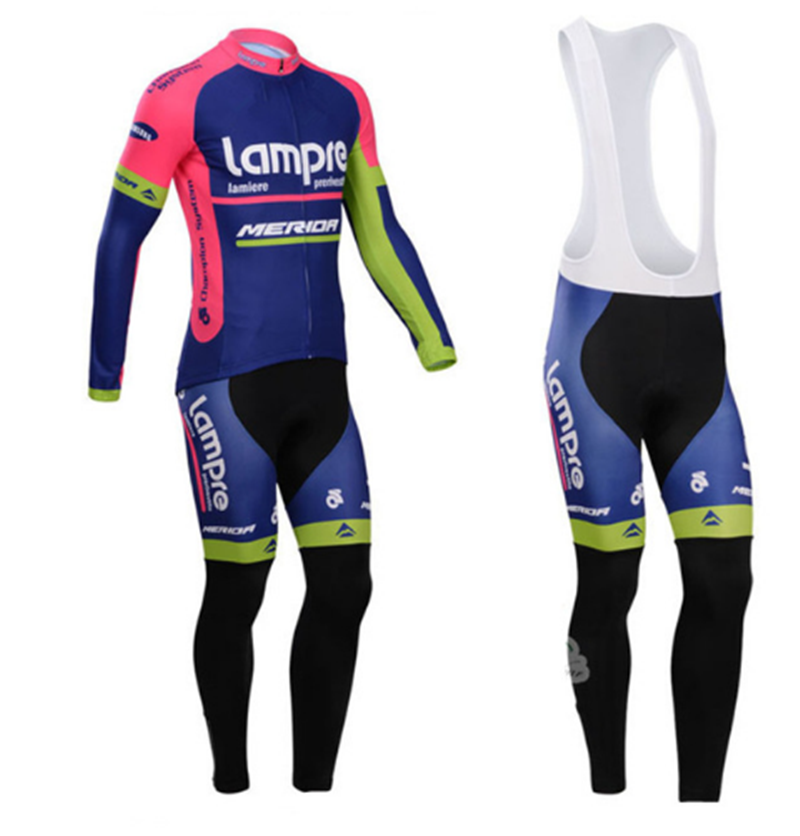 pro team lampre merida long sleeve cycling jersey thin Ropa Ciclismo quick  dry bike cloth Bicycle maillot bib pants-in Cycling Sets from Sports ... c09f0e6e9