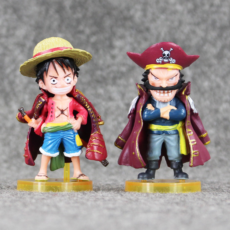 2pcs/lot One Piece  Monkey D Luffy  PVC Figure Action Model Toys Pirate King Gold Roger Gol D Roger Doll Collection Toy Gifts