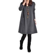 2019 Robe Female Long Sleeve Mini Dress Plus Size 5XL Pocket V Neck Knee-Length Dress Lady Large Size Dresses Woman Summer Dress цена