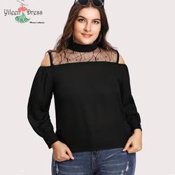 Yileen, открытыми плечами Для женщин блузка плюс Размеры Фонари рукавами модные топы футболки 2018 Новый Дамы Blusas высоким воротом 5XL