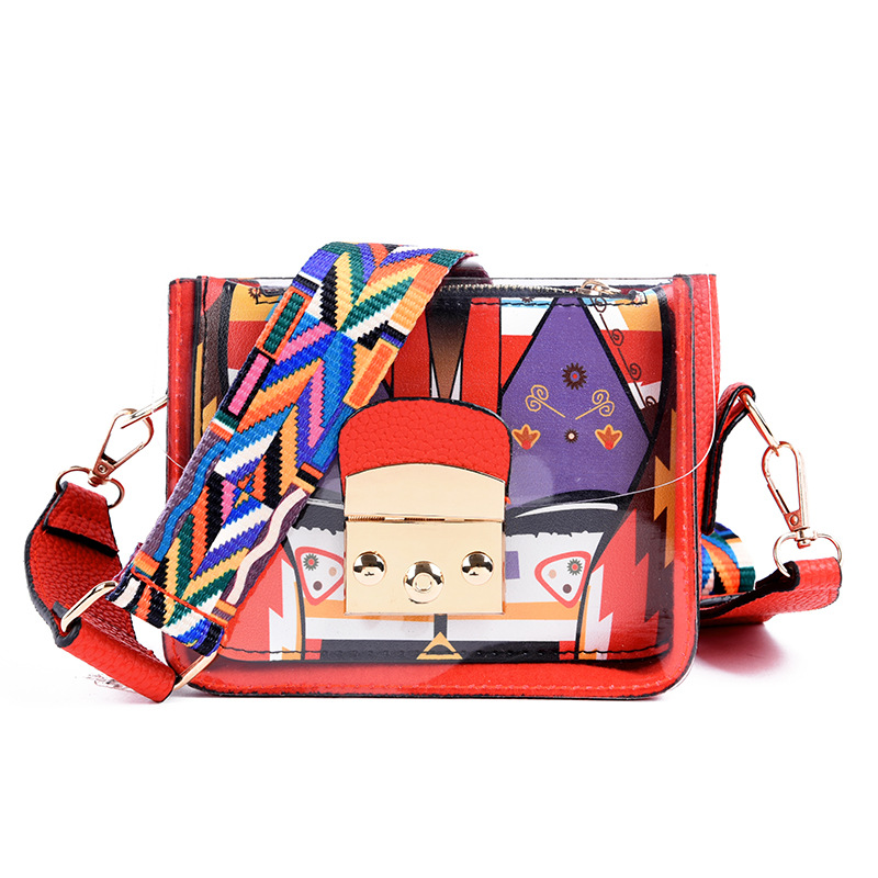 Us 9 33 30 Off Fashion Wide Shoulder Strap Las Messenger Bag Summer Jelly Mini Transpa Funny Lady Clutch Free Shipping In