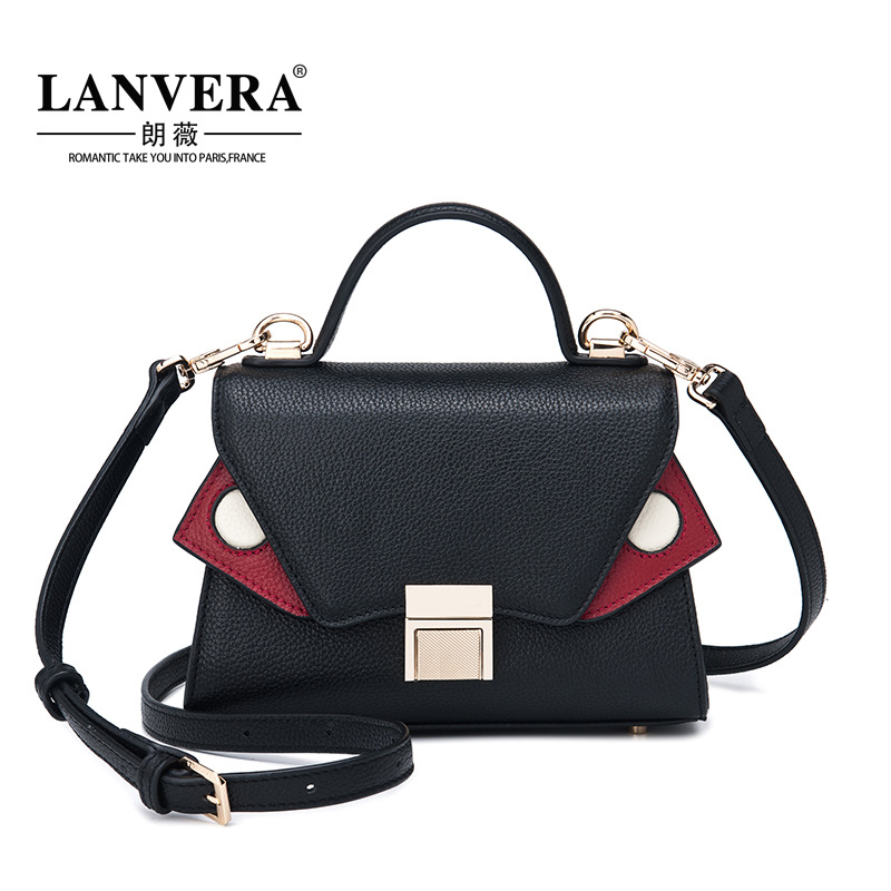 Women's Handbag Genuine Leather Fashion Small Crossbody Bags For Lady Vintage Female Shoulder Bag Hit Color Women Bag Tote spring new elegant leather women handbag smooth skin lady shoulder bags female small casual totes cover zipper crossbody packs