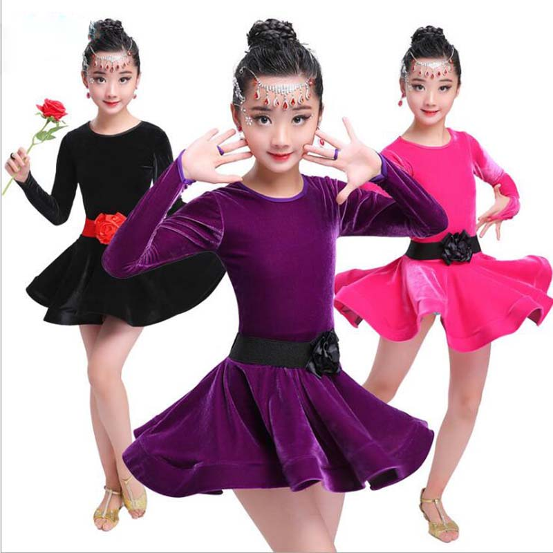 ballroom dance dresses Girls latin dancing dress Children Kids Birthday sukienki do tanca dla dzieci Spring Autumn Winter Dress