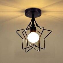 Retro Pentagram Iron Ceiling Light Creative circle E27 Black/Gold Industrial wind Ceiling Lamp For Restaurant Coffee Shop Bar стоимость