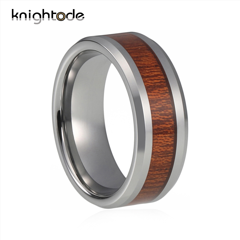Knightode Silver Tungsten Wood Rings For Men Women Wedding