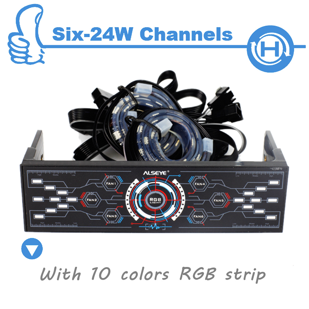 Cheaper computer - Alseye 6 Channels Computer Fan Controller With Dual Rgb Strips 5 Pieces Wholesale For Agents More Quantity More Cheaper