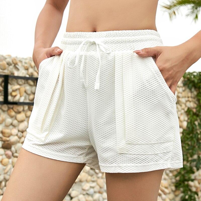 Women Sports Shorts White Loose Running Shorts Female Pilates Exercise Gym Wear Breathable Shorts High Flexible Waist Quick Dry