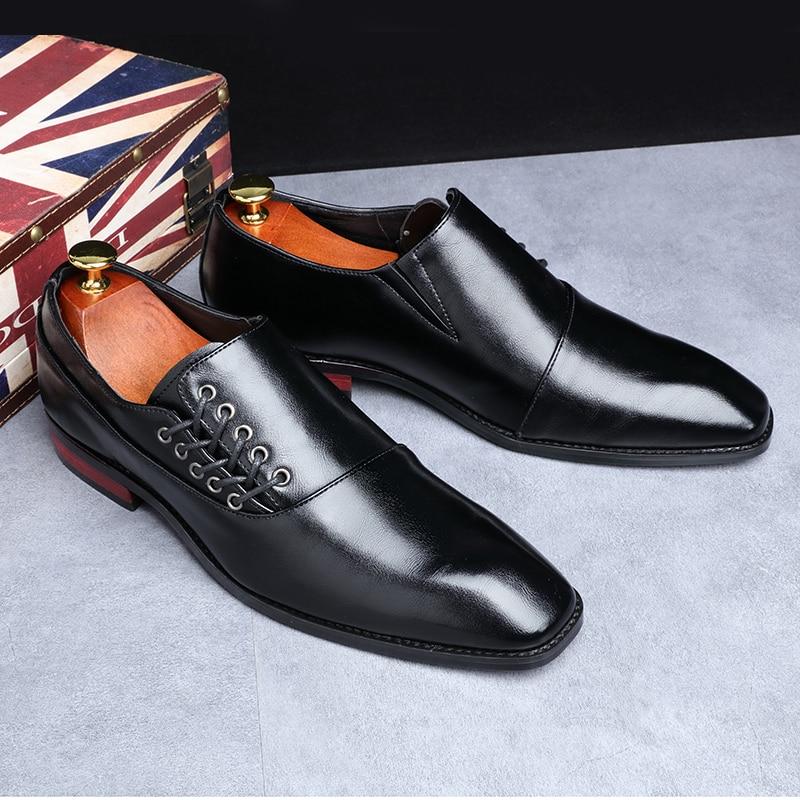 Yomior New Spring Summer Men's Dress Shoes Japanese Formal Business Oxfords Vintage Men Elegant Shoes Party Wedding Shoe Black 5