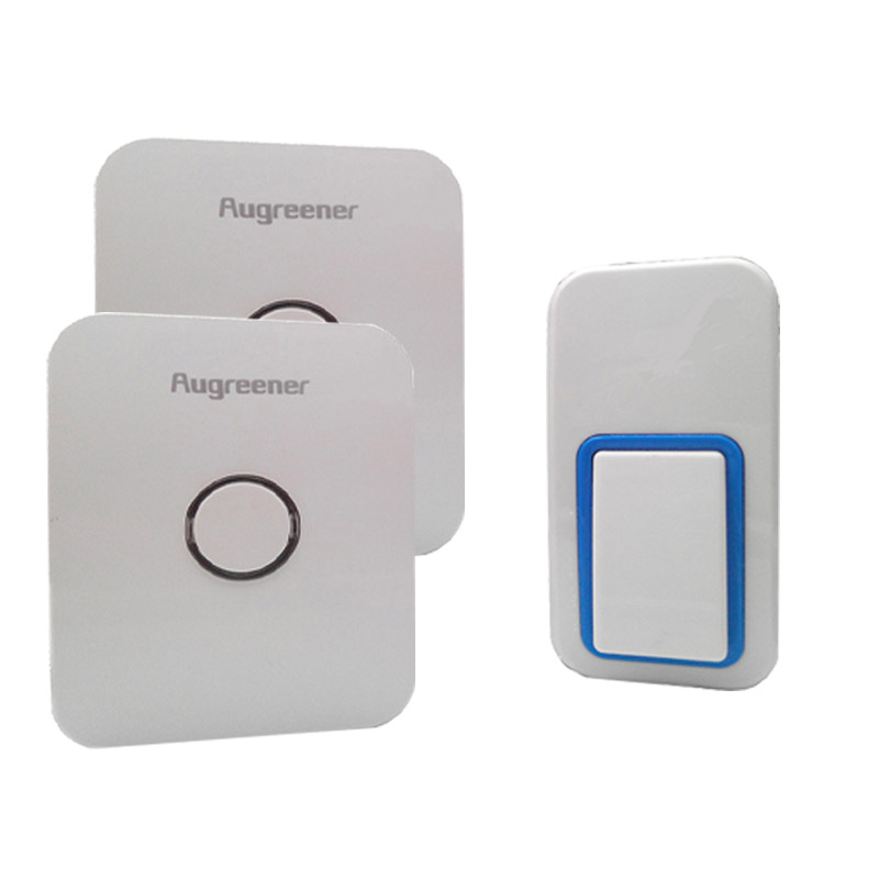 No Battery Wireless Doorbell, 1 button and 2 chime, perfect in rainy days, no cabling to install, 120m working range, 25 tones 2 receivers 60 buzzers wireless restaurant buzzer caller table call calling button waiter pager system
