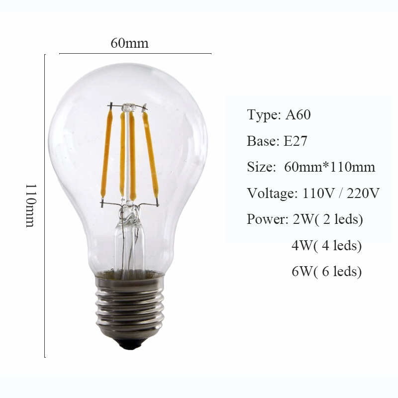 2er trendlights LED LED-Lampe A60 6W-44W 510lm E27 2200k Birne Glas Gold EEK A+