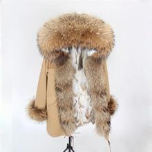 Роскошные пальто ткань 2018 Женская куртка-парка плюс Размеры с натуральным кроличьим мехом пальто женская зимняя куртка Длинные Настоящее енот меховой воротник с капюшоном