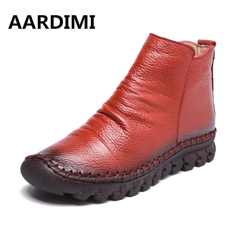 AARDIMI Designer Genuine Leather Women Boots  Autumn/Winter Solid Women Martins Boots Casual Winter Shoes Flat Boots Woman pu leather martins women boots snow boots military girls for casual walking shoes winter femme bota 2017 7687