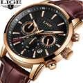 Reloje 2019 LIGE Männer Uhr Männlichen Leder Automatische datum Quarz Uhren Herren Luxus Marke Wasserdichte Sport Uhr Relogio Masculino