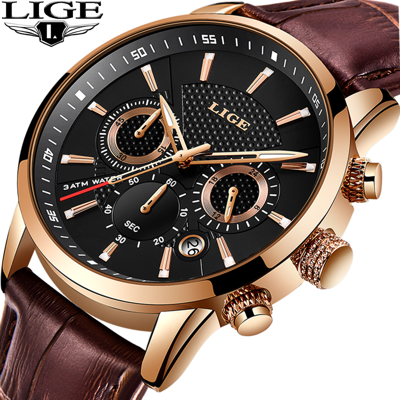 Reloje 2019 LIGE Men Watch Male Leather Automatic date Quartz Watches Mens Luxury Brand Waterproof Sport Clock Relogio Masculino-in Quartz Watches from Watches