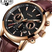 Reloje 2019 LIGE Men Watch Male Leather