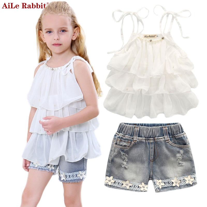 AiLe Konijn Zomer Koreaanse kinderkleding meisjes Chiffon cake sling broek 2st parel bloem halter top denim kinderen Set k1