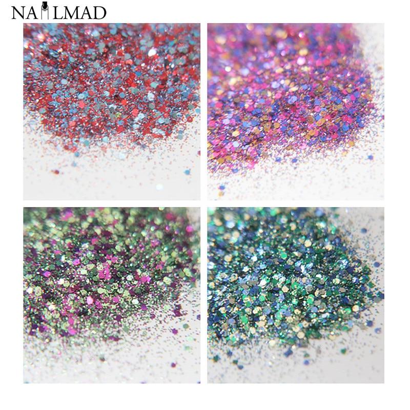 1 bag Dazzling Nail Glitter Powder Mixed Nail Sequins Sparkles Glitter Dust Powder Nail Art Decorations Nail Tool 21 colors