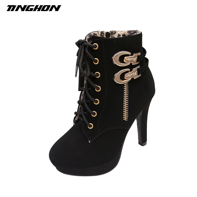TINGHON Autumn Winter Fashion Women Ankle Boots High Thin Heels Lace Up Leather Buckle Zipper Waterproof Platform Short Boot fashion new women s hat lace beanie crystal direction hats for women autumn winter outdoor thin caps sport beanies