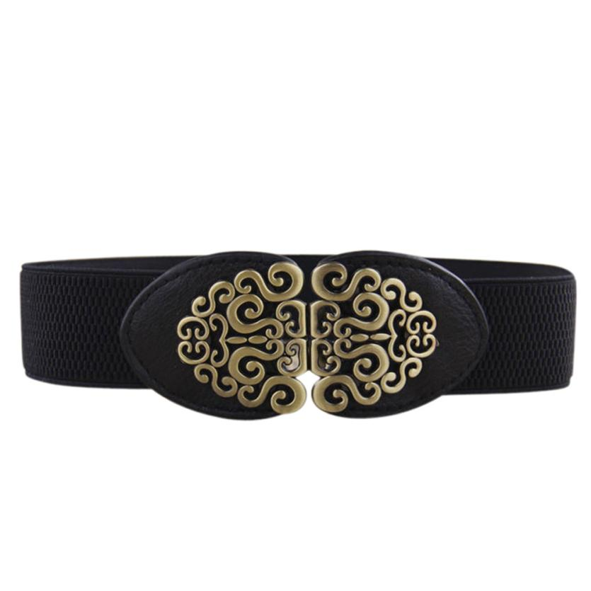 2017 New Alloy Flower Vintage Leather   Belt   For Women Lady Elastic Stretch   Belt   Waistband   Belt   Straps Best Gift for Lover