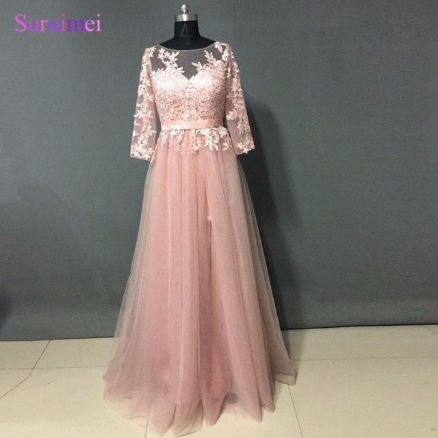 550207dd7981 High Quality Nude Pink Long Sleeve Prom Dress Long Front Slit French Lace  Winter Bridesmaid Dresses 2017 Formal Dress