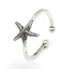 Adjustable Alloy Cuff Finger Rings Starfish rings stainless steel jewelry woman girls Gifts Size 7,F60