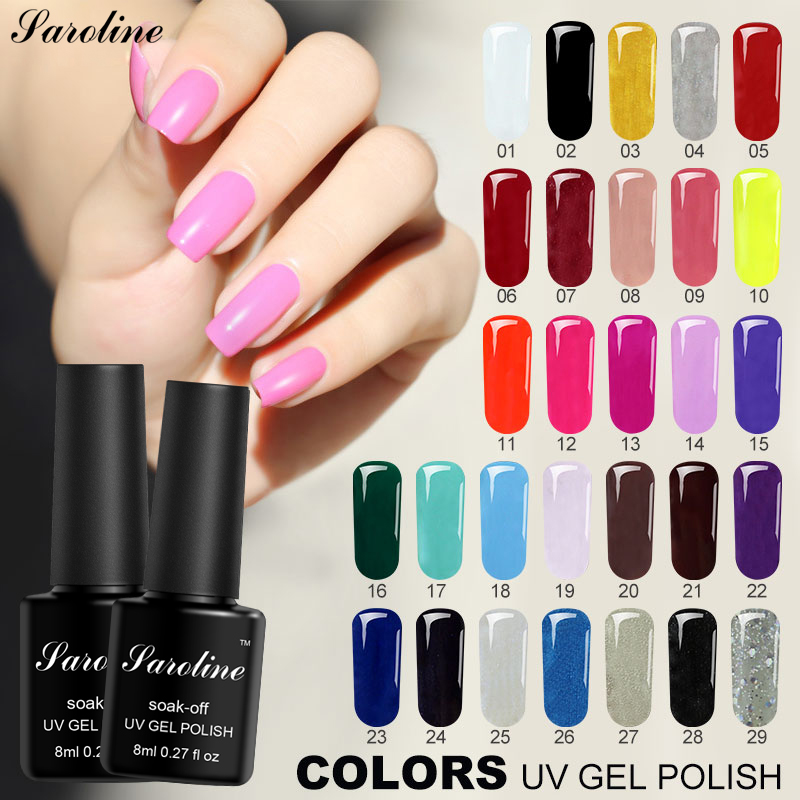 Saroline Colorful Long Lasting Nail Poly Gel 8ML Semi-permanent Lucky 3d Gel Uv Lamp Colored Acrylic Nail Top Base Gel Varnish