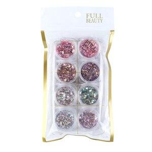 Image 5 - 8 kutu holografik parlak tırnak tozu karışımı altıgen Sparkly Nail Art gevreği Charm Glitter pul manikür dekorasyon seti LA1506 08