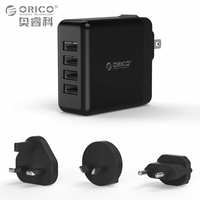 USB Travel Charger with Converter EU UK AU Plug ORICO 4 Ports USB Super Charger 5V6.8A34W Wall Charger (DSP-4U)