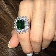 Роскошное карат созданное Изумрудное коктейльное кольцо Настоящее 925 пробы серебряные кольца для женщин хорошее ювелирное изделие аксессуары хорошее ювелирное изделие