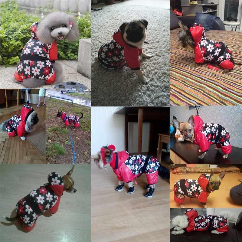 Теплая зимняя одежда для собак комбинезон для собак Домашние животные с капюшоном пальто для щенка Кошки Костюм Тедди Чихуахуа бульдог наряд XS s m l xl