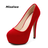 Misalwa Big Size 35 46 New Spring Autumn Sexy Party Wedding Round Toe Woman Pumps Platform Super High Heel 14 CM Pumps Black Red