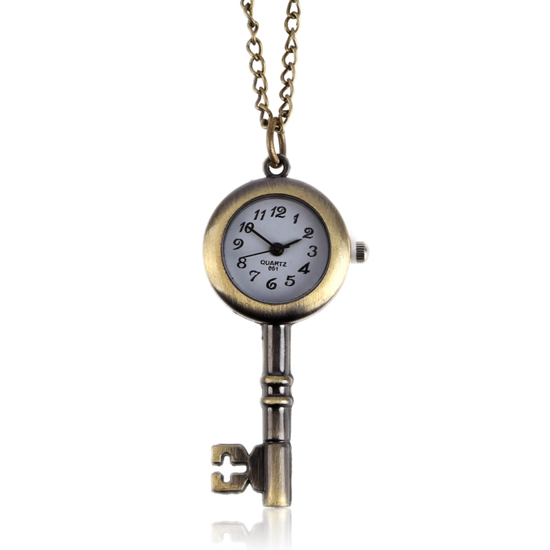 2018 New Retro Pocket Watch Men Fashion Key Watch Symbol of Love Women Watch relogio de bolso zakhorloge unique smooth case pocket watch mechanical automatic watches with pendant chain necklace men women gift relogio de bolso