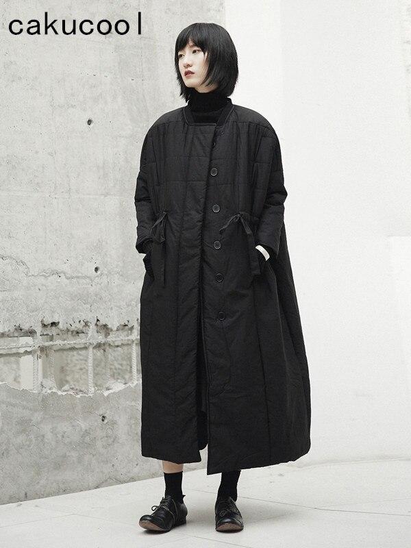 Cakucool nowa kurtka zimowa kobiety luźne szerokie średniej długości bawełny wyściełane odzieży wierzchniej Gothic japoński czarny płaszcz Parka kobiet Pluc rozmiar w Parki od Odzież damska na  Grupa 1