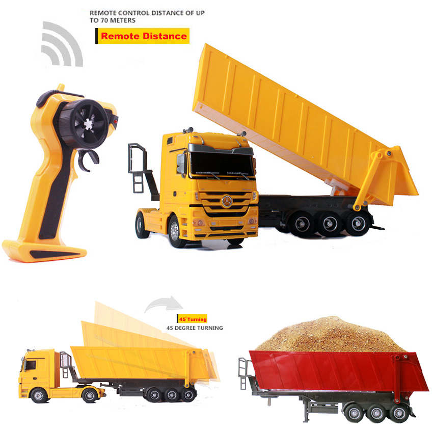 BIG RC Toy 2.4GHZ Dumper Tilting Cart Remote Control Tip Lorry Auto Lift Engineering Container Car Vehicle Toys