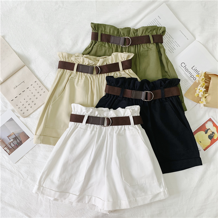2019 Spring Summer Arrival Korean Style   Shorts   High Waist Loose Wide Leg   Shorts   Elastic Waist with Belt   Shorts   Free Shipping