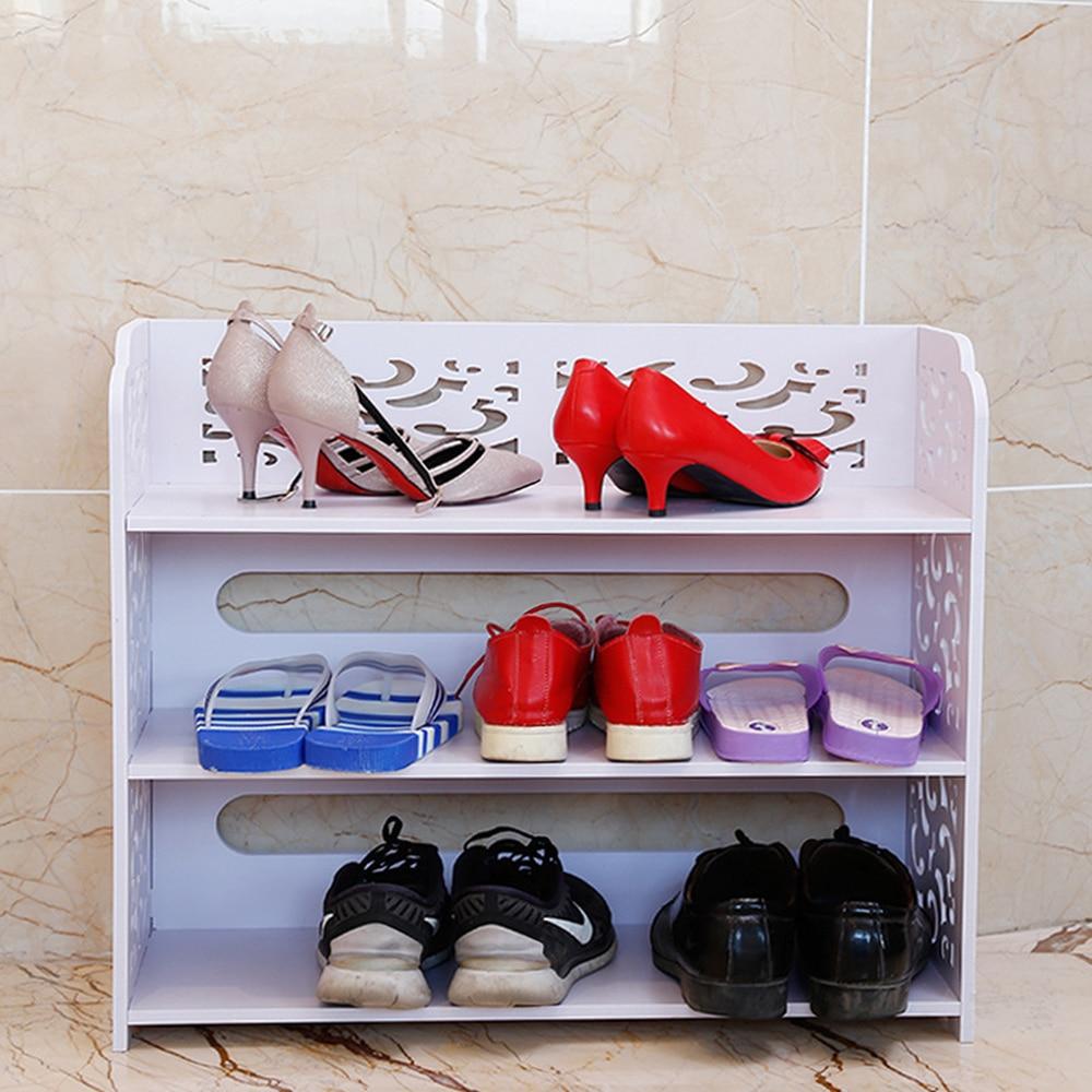 Простой шкаф для обуви древесины пластиковые панели полые многослойные сборки обувной шкаф спальня водонепроницаемый полки для хранения о