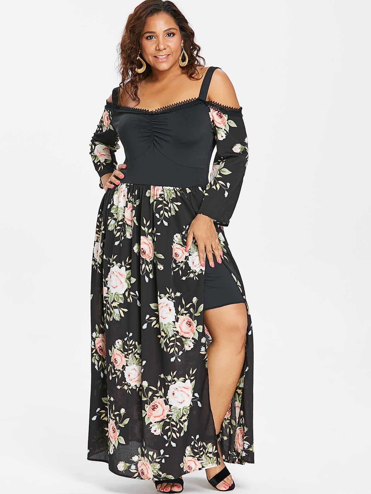 Rosegal Plus Size Cold Shoulder Floral High Split Maxi Dress Women Party  Dress Autumn Sweetheart Neck Long Sleeves Robe Dresses