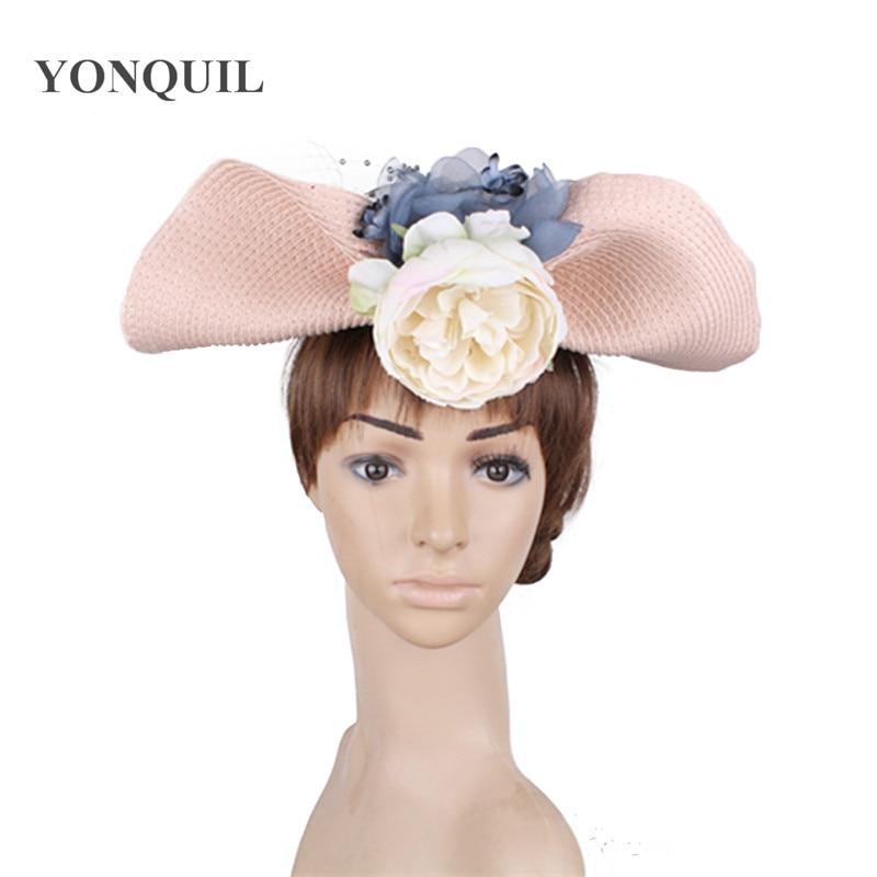 light pink headbands vintage hair fascinator hats race wedding women flower  fedora caps with veils derby headwear 2018 New style-in Women s Hair  Accessories ... 1945568e196
