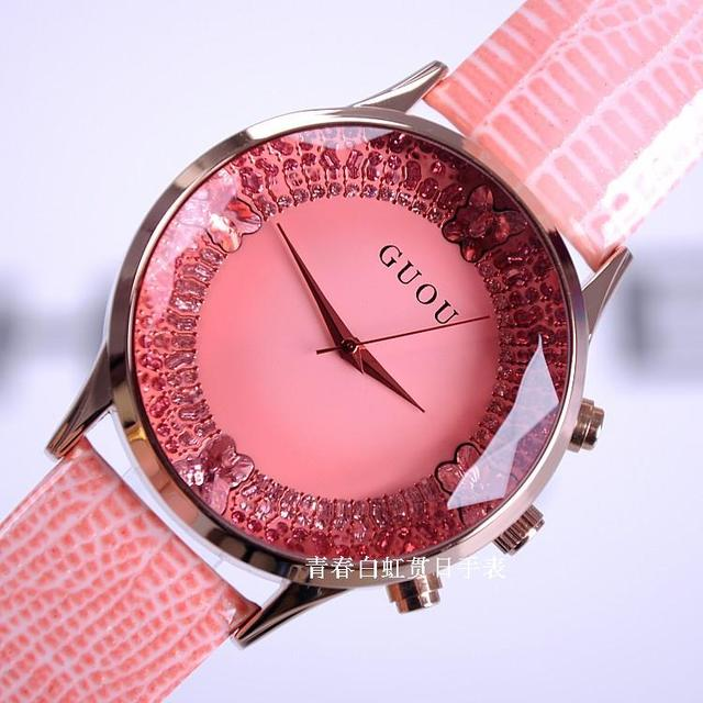 2016 Summer Women Rhinestone Watches Lady Luxury Wristwatches Genuine Leather Qu